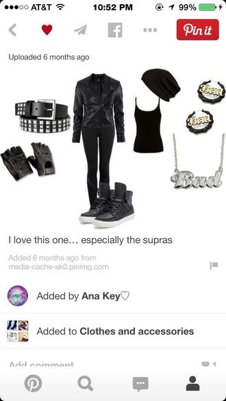 black tank top black leggings black leather jacket black sneakers black belt necklace earrings black beanie black fingerless gloves