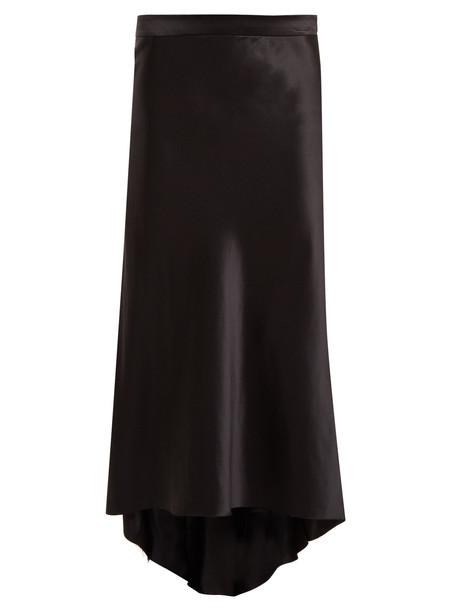 RAEY Bias godet silk satin slip midi skirt in black