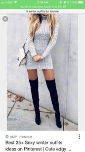 sweater,dress,knitted dress,sweater dress,grey,grey dress
