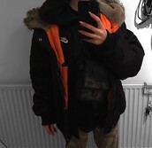 coat,black faux fur,orange lining,black faux fur jacket,parka