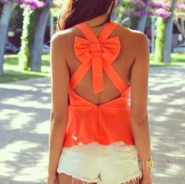 blouse bow back cute summer orange