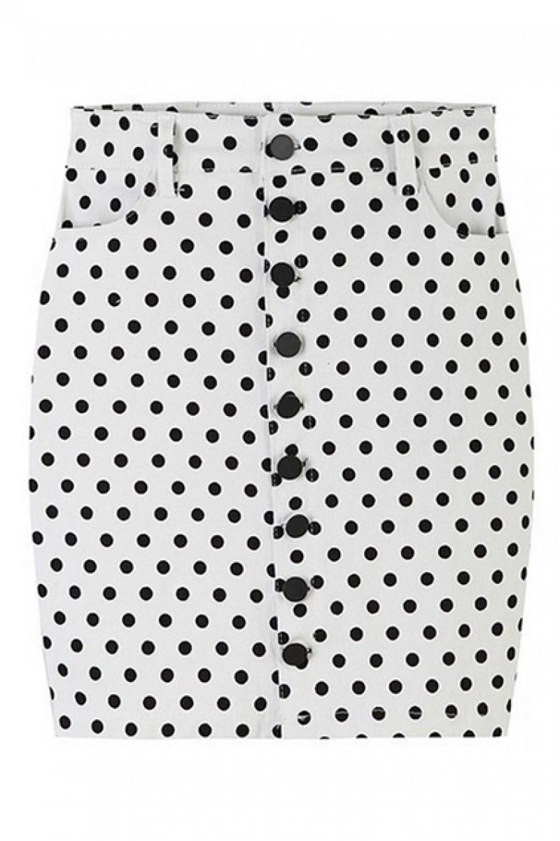 abaday Polka Dots Print High-waist Bodycon Skirt