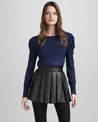 Olivia | Pleated Leather Miniskirt - CUSP