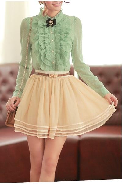(FODRE0605) Ivory Layered Skirt, iAnyWear