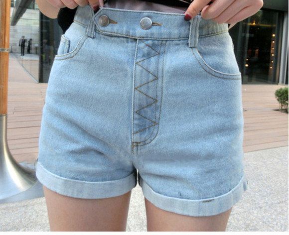 jeans High waisted shorts cool light blue light blue jeans shorts high waisted
