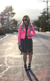 all dolled up,blogger,jacket,dress,jewels,bag,sunglasses,shoes