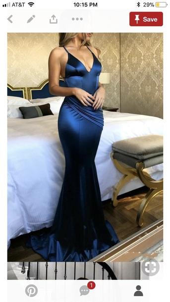 dress blue blue dress satin satin dress slit dress slit