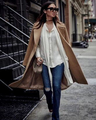 coat tumblr beige coat shirt white shirt denim jeans blue jeans ripped jeans sunglasses