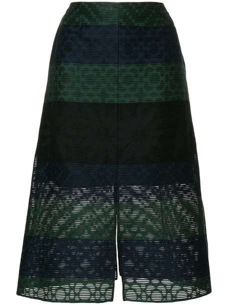 Julien David - stripe embroidered skirt - women - Silk/Cotton/Nylon - S, Blue, Silk/Cotton/Nylon
