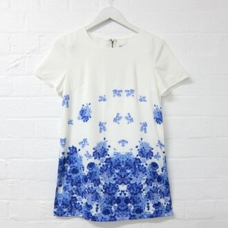 dress shift short sleeve dress floral dress