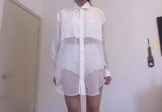 blouse white blouse shirt white pale grunge mesh see through loose