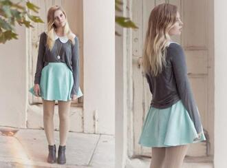 sweater cute oversized sweater grey sweater blue skirt skirt pastel