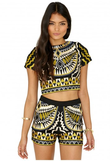 Kizia Premium Aztec Crop Top - Tops - Missguided | Ireland