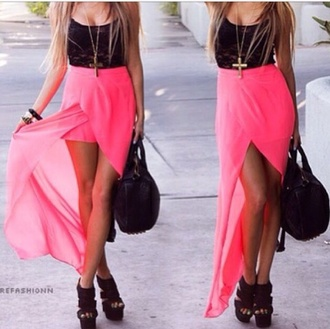 dress pink and black high-low dresses sheer