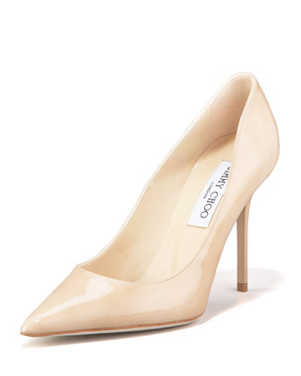 Jimmy Choo Abel Point-Toe Patent Pump, Nude - Neiman Marcus