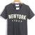 Dark Grey Short Sleeve NEW YORK STORY Print T-Shirt - Sheinside.com