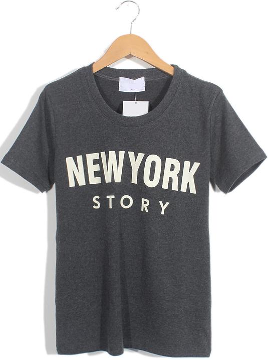 Dark Grey Short Sleeve NEW YORK STORY Print T-Shirt - Sheinside.com