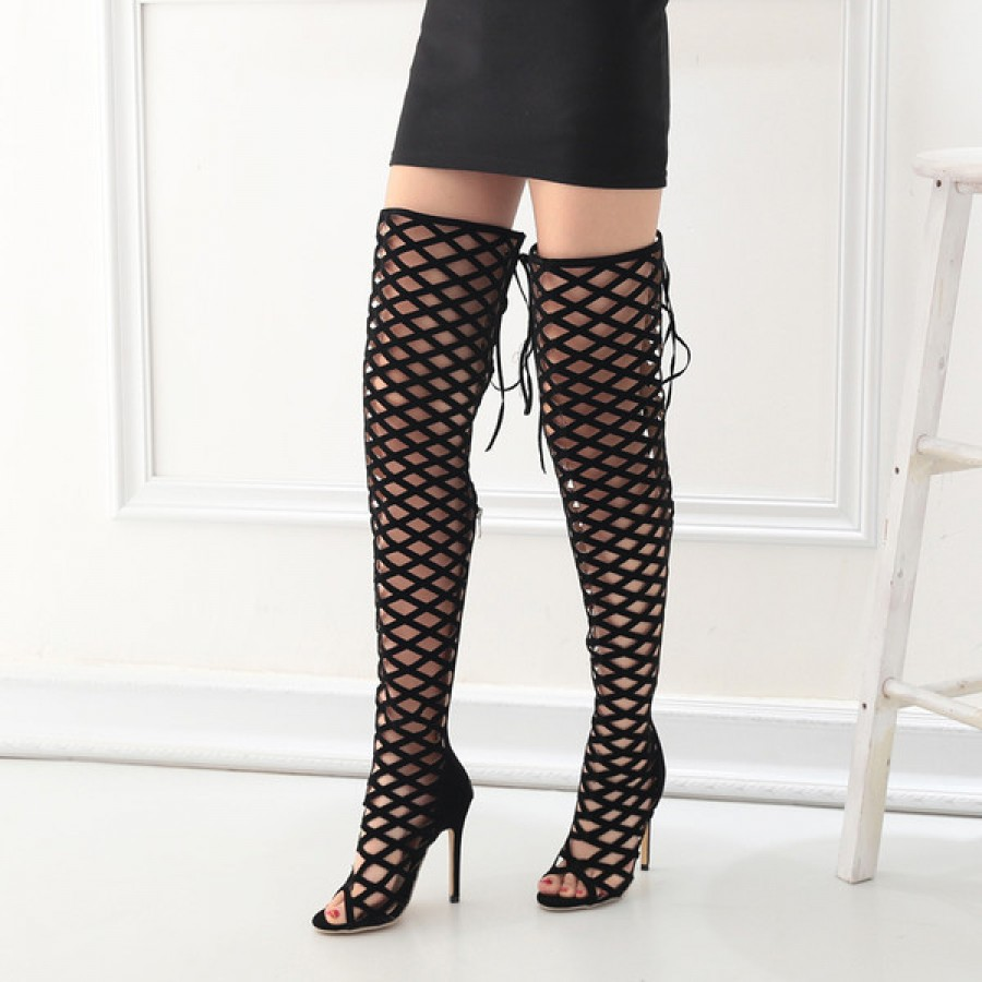 Thigh High Peep-Toe Laser Cut High Heel Boots