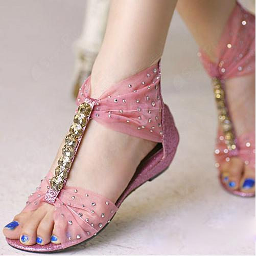Sweet Flat Heels Peep Toe Sandals with Pink Lace