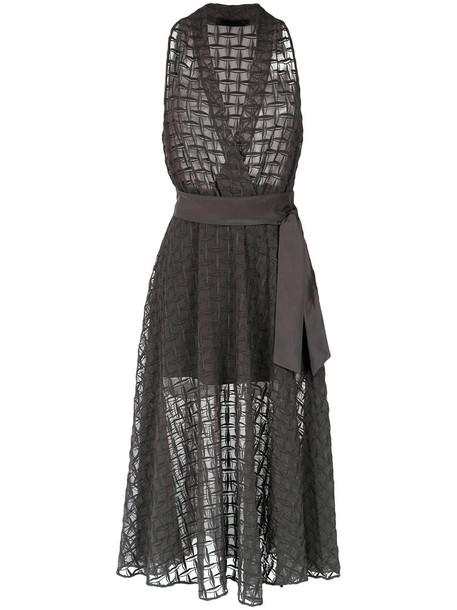 Giuliana Romanno gown sheer women silk grey dress