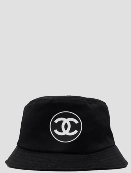 bucket hat black hat white hat bucket chanel chanel hat chanel bucket hat