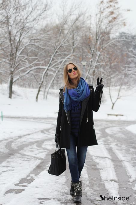 Black Long Sleeve Contrast Leather Epaulet Coat - Sheinside.com