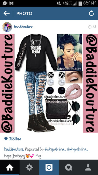 twerk baddiekouture_ outfit idea jeans jewels bag outfit black sweater ripped jeans short hair eye makeup lips black bag round sunglasses instagram ootd