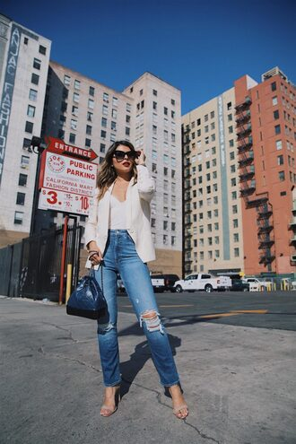 jacket sunglasses tumblr blazer white blazer denim jeans blue jeans ripped jeans sandals sandal heels high heel sandals bag backpack shoes top