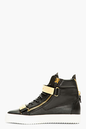 Giuseppe Zanotti Black Leather Metal Accent High-top Sneakers for men | SSENSE