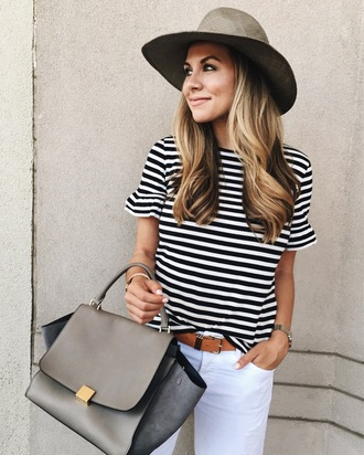 the teacher diva blogger sunglasses hat make-up stripes striped top black and white white jeans skinny jeans grey bag fedora grey hat bell sleeves bell sleeve top belt