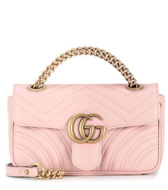gucci mini bag shoulder bag leather pink