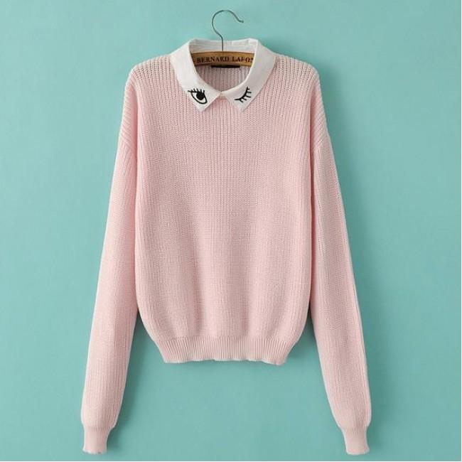 Eyelash pink crop sweater