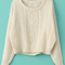 Beige long sleeve cable knit pullover sweater - sheinside.com