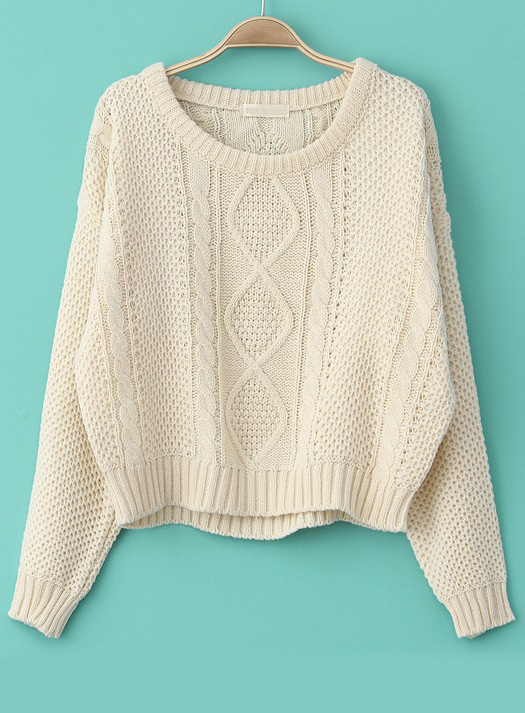 Long Sleeve Cable Knit Pullover Sweater - Sheinside.com