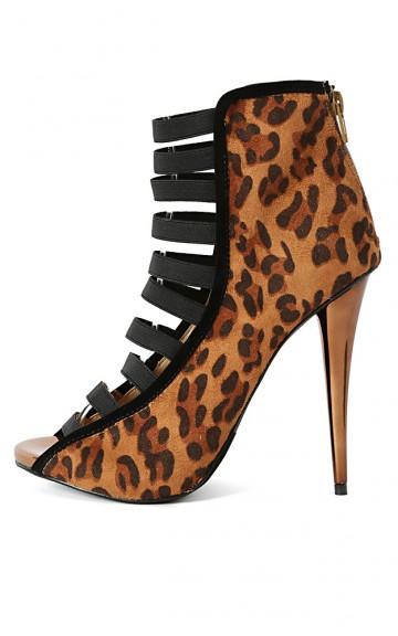Liliana Iris-11 Elastic Strappy Leopard Heels | MakeMeChic.com