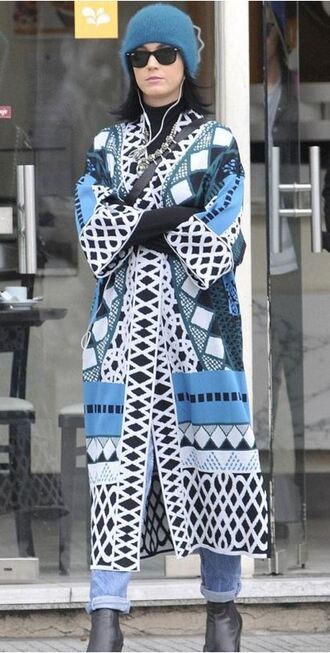 coat beanie fall outfits katy perry aztec