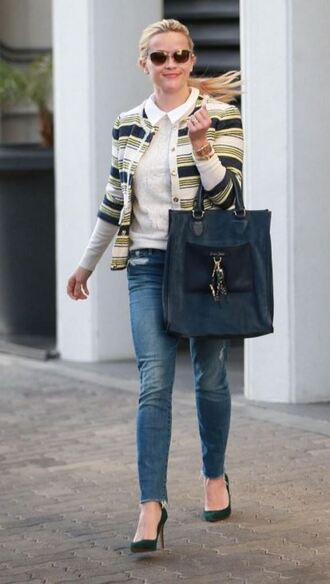 blouse shirt jeans reese witherspoon pumps cardigan jacket