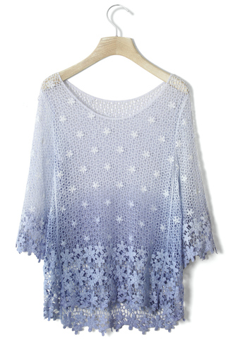 blouse lavender crochet mesh mid-sleeve top how i met your mother