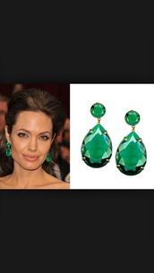 jewels,angelina jolie,emerald green earrings,gold,jewelry,tear drop