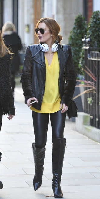 boots leggings jacket fall outfits leather jacket lindsay lohan