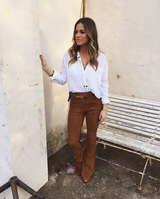 pants shirt jojo fletcher twitter flare jeans flare pants top blouse suede brown pants suede pants