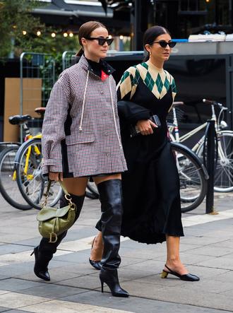 dress stockholm fashion week slip dress sweater coat boots black boots high heels over the knee bag sunglasses midi dress black midi dress black dress slingbacks cat eye