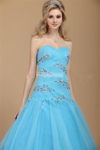ball gown evening dress blue dress fashion dress beading long girl