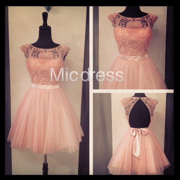 640f3c30fe2 Lovely Pink Lace Short Tulle Prom Dresses Cute A-Line Formal Cocktail Party  Dress Sweet 16 ...