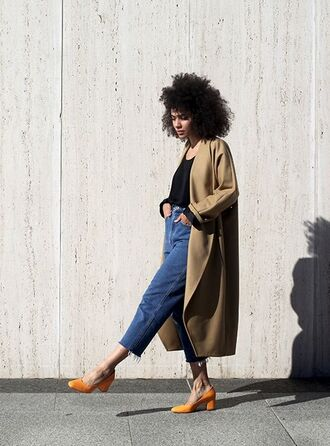 shoes glove heels yellow shoes jeans denim blue jeans mom jeans top black top coat camel coat fall outfits