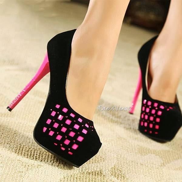 shoes pink black high heels