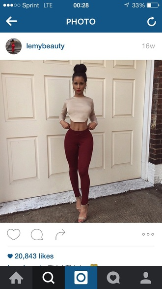 burgundy skinny pants crop tops beige top nude sandals sexy outfit bodycon