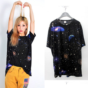 Womens loose fitting graphic stellar space inspired prints galaxy t