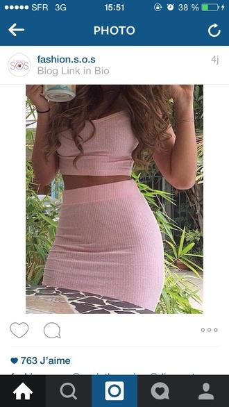 skirt pink crop top crop tops pink skirt