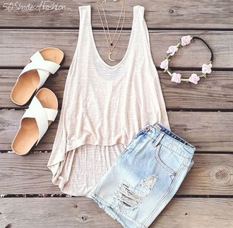 t-shirt shirt outfit white tank top moon necklace shorts sandals